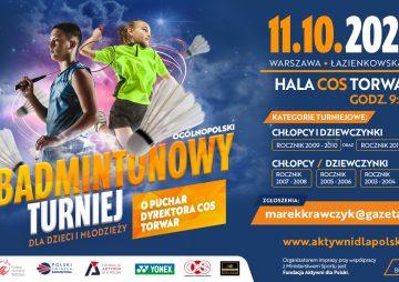 II Ogólnopolski Badmintonowy turniej dla Dzieci i Młodzieży o Puchar Dyrektora COS 2021 TORWAR